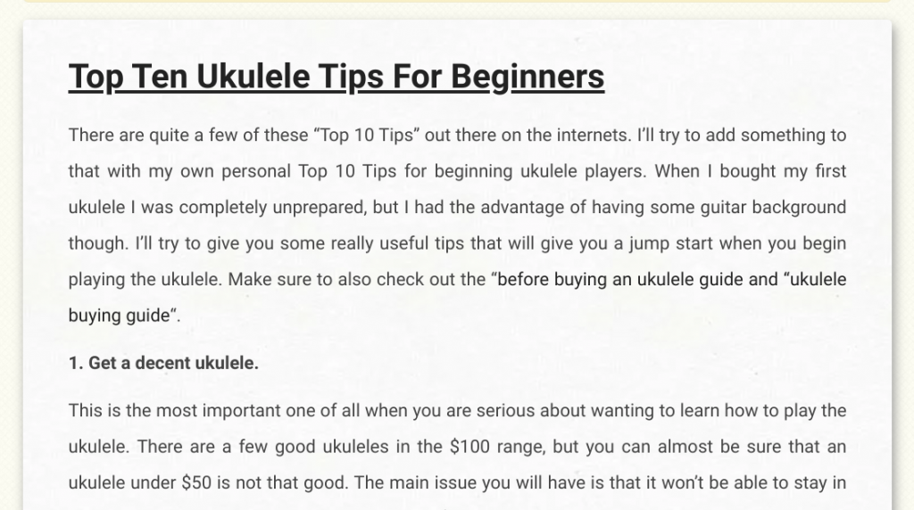 "UkuGuides.com presents 'Top Ten Ukulele Tips for Beginners' beginning with ""1. Get a decent ukulele"""